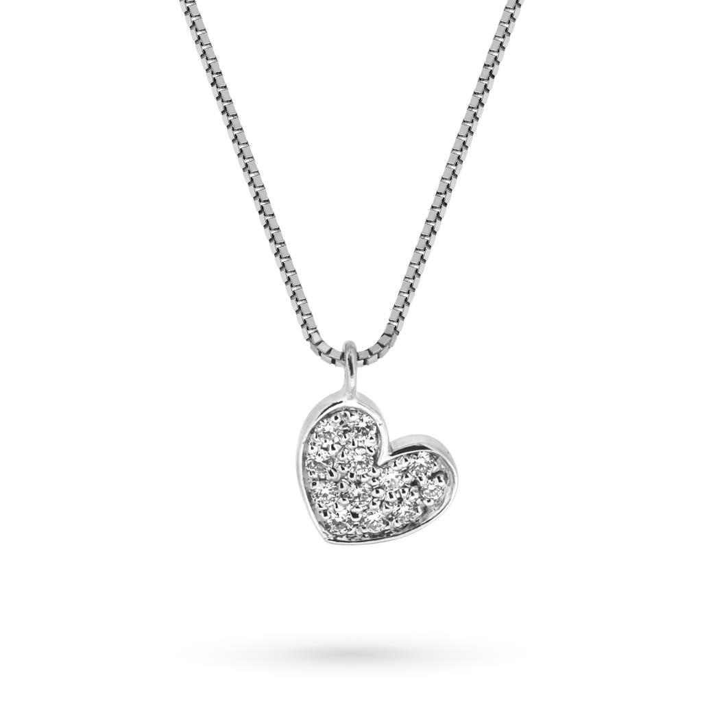 Girocollo in oro bianco con ciondolo cuore e brillanti - MIRCO VISCONTI