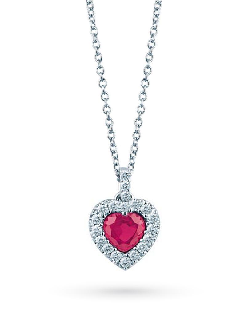 Girocollo in oro bianco con cuore di rubino 0,54ct e diamanti 0,16ct F VS - MIRCO VISCONTI