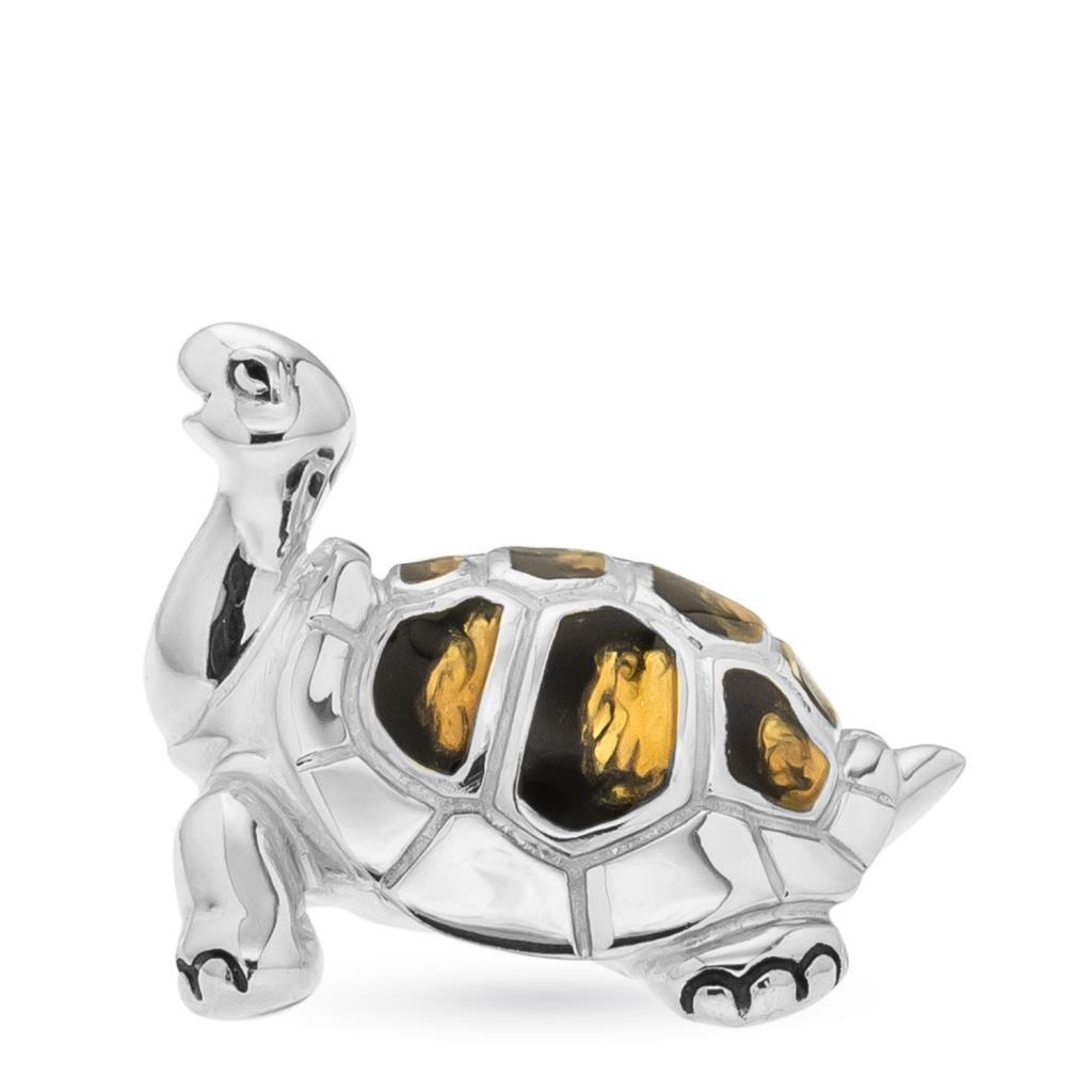 Tartaruga media soprammobile argento e smalto  - SATURNO