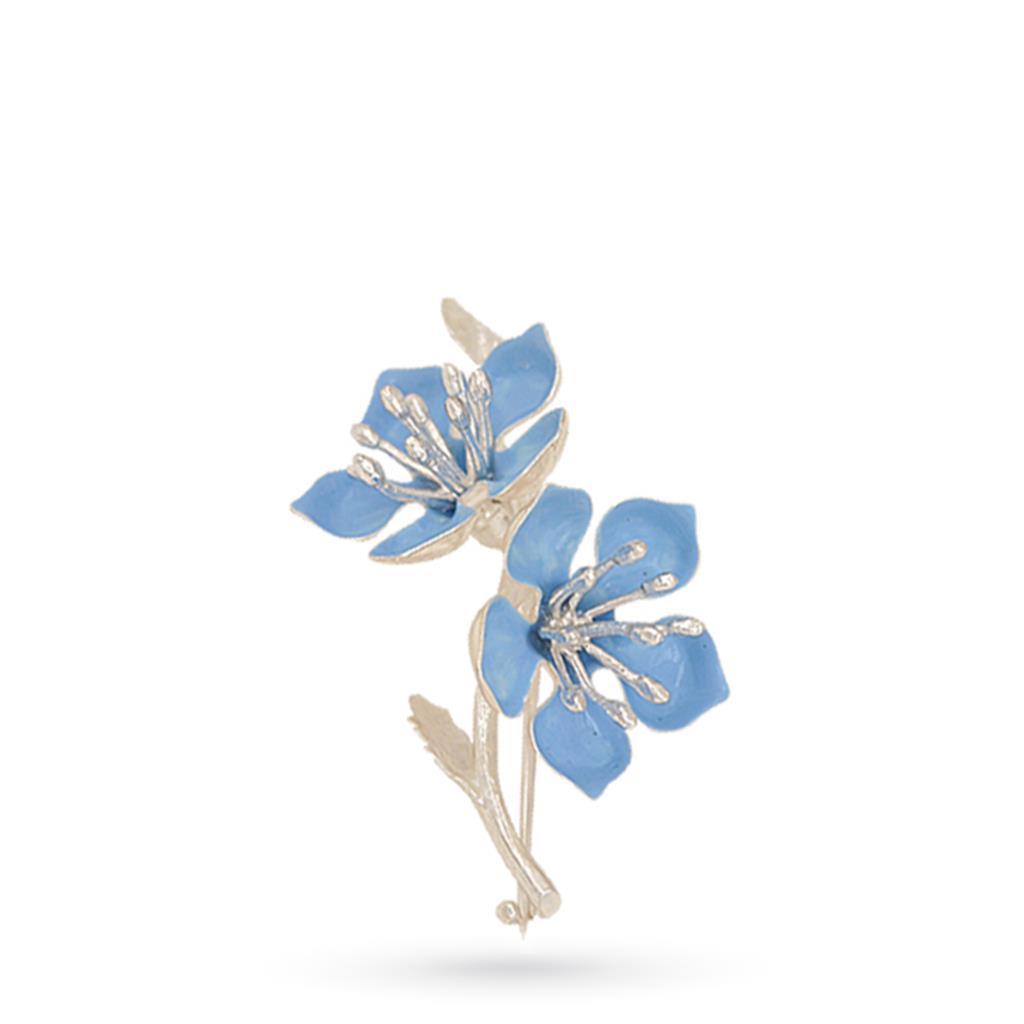 Spilla in argento con fiori di pesco smaltati 5cm - GI.RO'ART