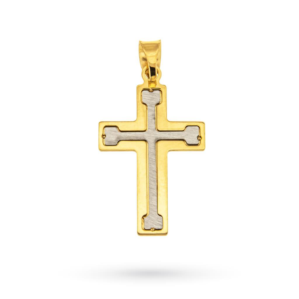 Ciondolo croce in oro giallo e bianco 18kt - CICALA