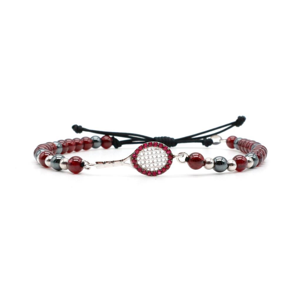 Bracciale racchetta tennis oro bianco con rubini e rodolite - MATTIA MAZZA