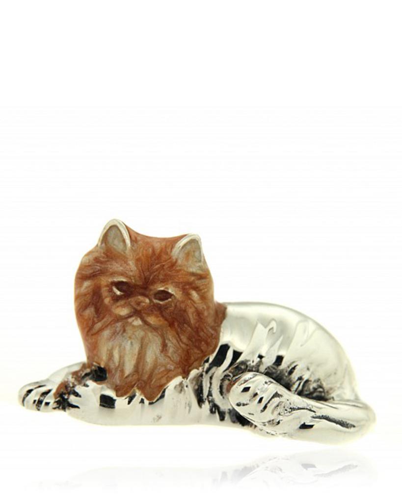 Gatto persiano soprammobile in argento e smalto - SATURNO