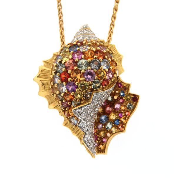 Girocollo in oro giallo conchiglia con diamanti e gemme - ORO TREND