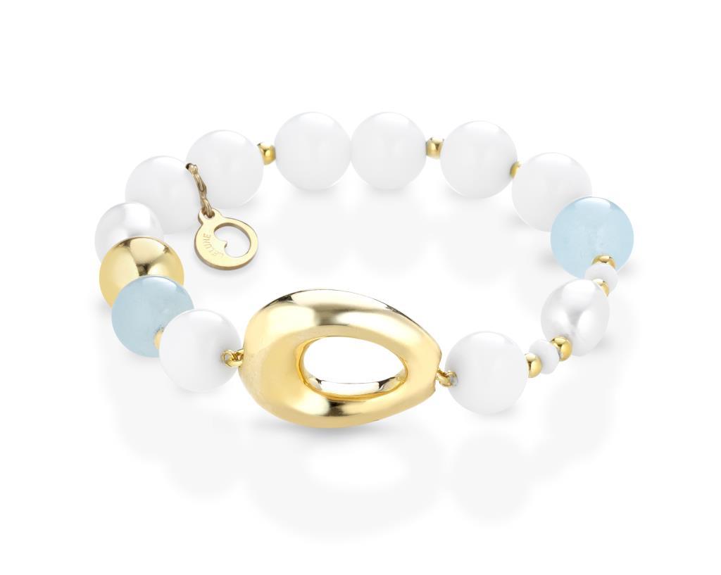 Bracciale elastico con perle, agata, acquamarina e argento - LELUNE