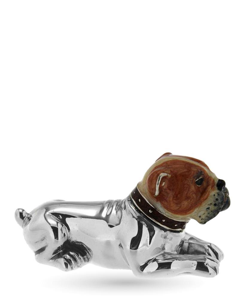 Bulldog medio soprammobile in argento e smalto - SATURNO