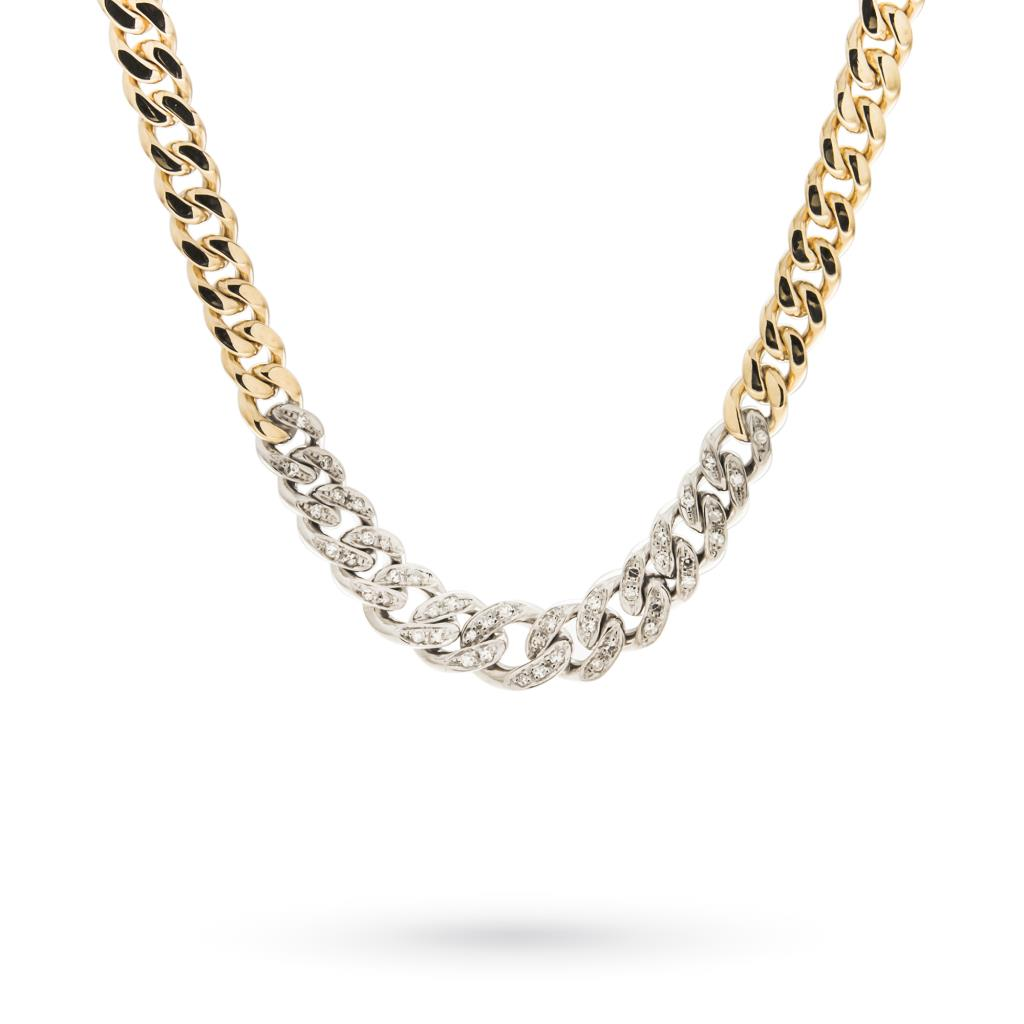 18kt gold chain necklace with diamonds - CICALA