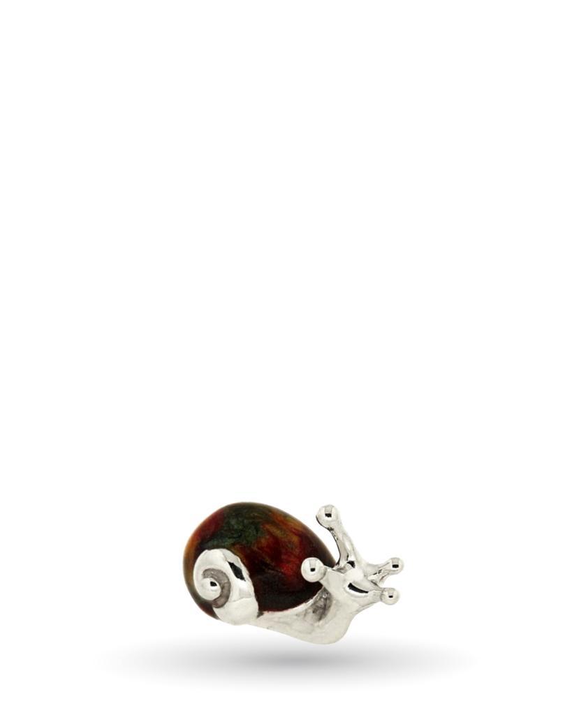 Lumaca mini soprammobile in argento e smalto  - SATURNO