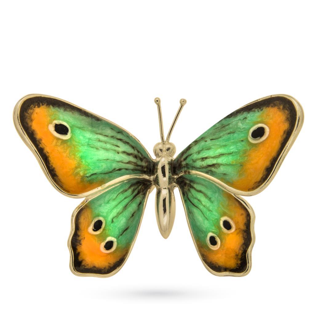 Farfalla grande soprammobile in argento e smalto - SATURNO