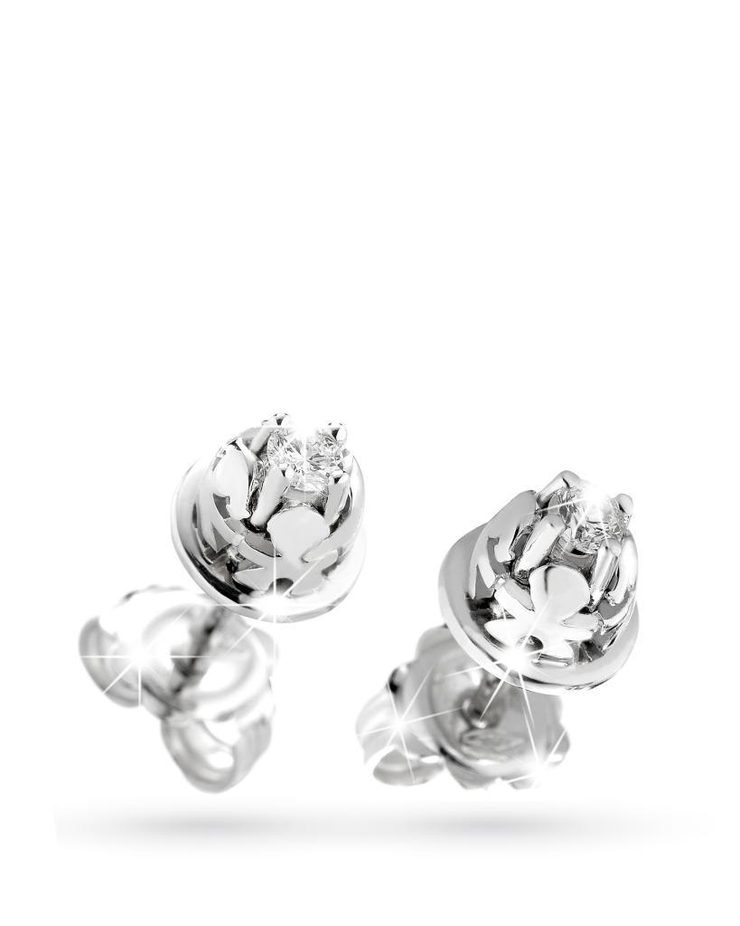 Orecchini Lebebe in oro bianco con bimbo e bimba e diamanti - LE BEBE