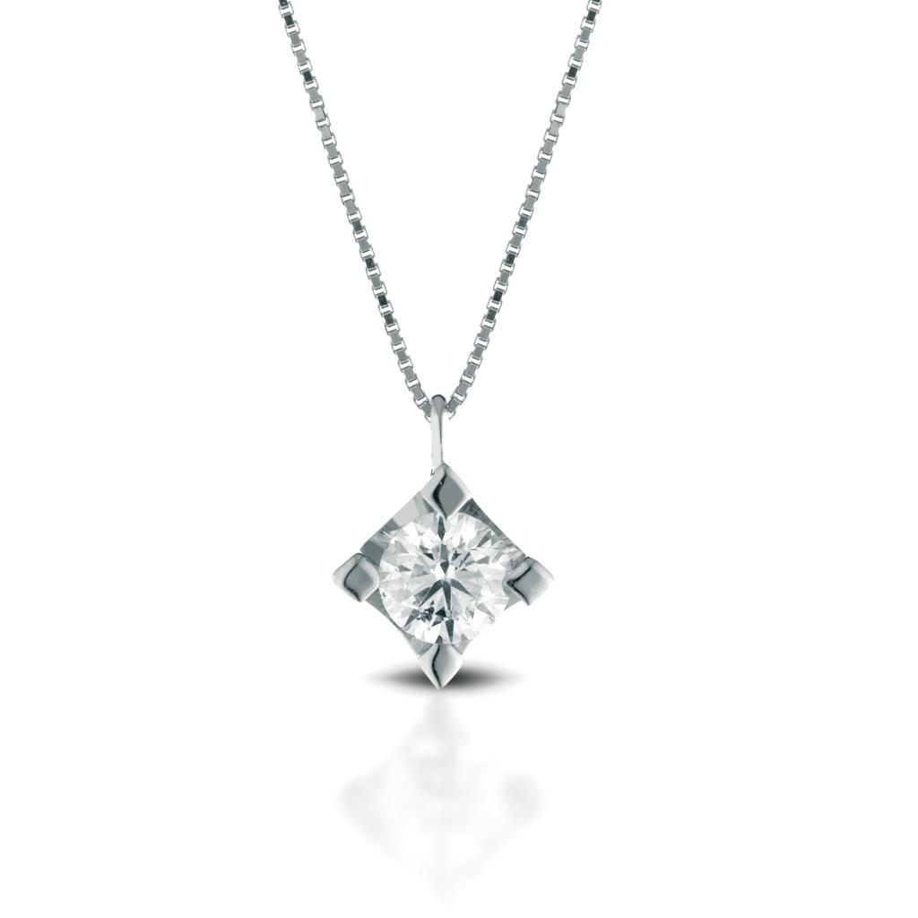 Solitaire necklace gold with diamond 0,20ct - LELUNE DIAMONDS