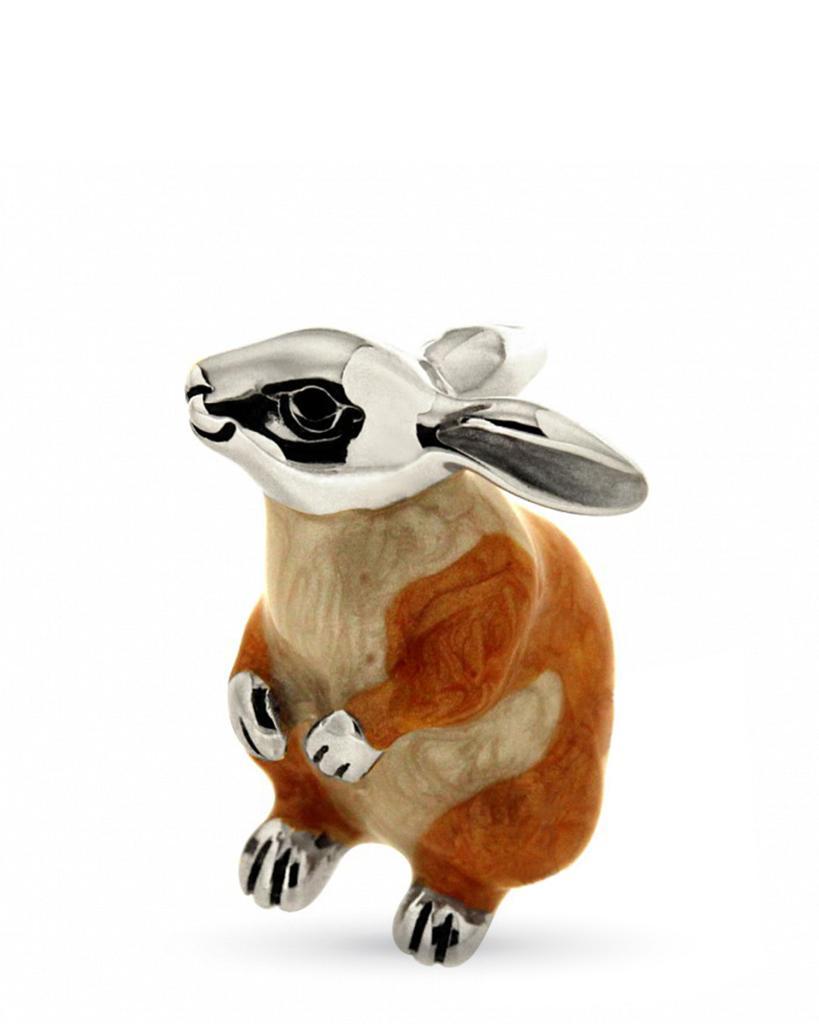 Coniglio medio beige seduto soprammobile in argento e smalto  - SATURNO