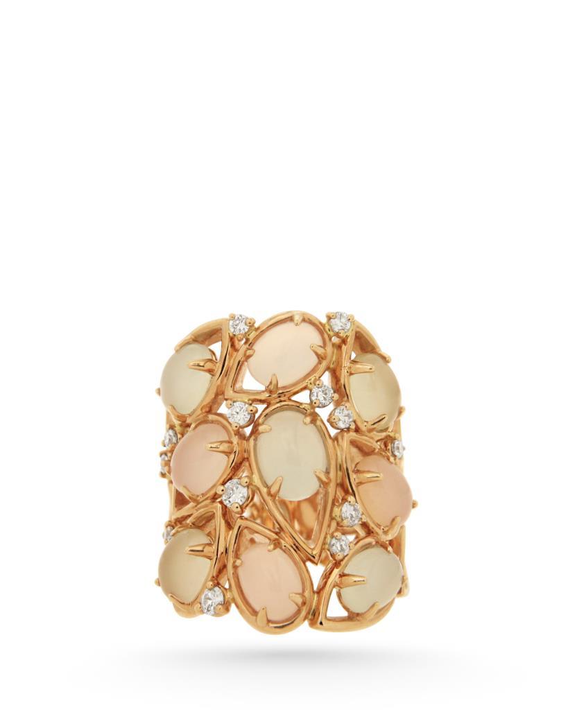 Grande anello in oro rosa con quarzi lemon, calcedonia e diamanti - ORO TREND