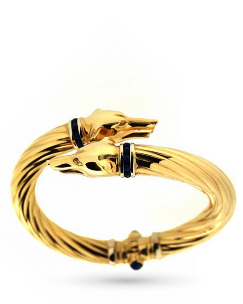 Bracciale rigido in oro giallo con teste di levrieri - UNBRANDED