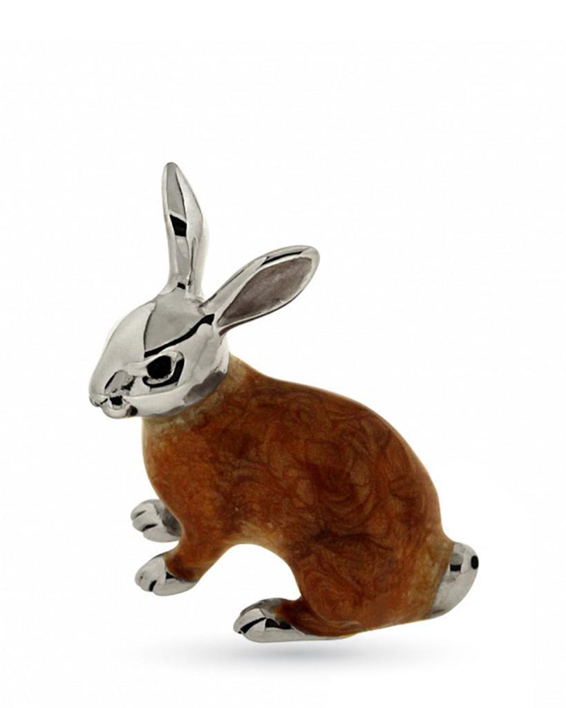 Coniglio grande seduto soprammobile in argento e smalto  - SATURNO