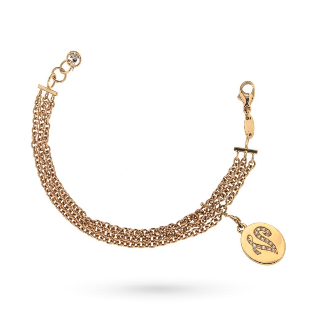 Bracciale in oro rosa con lettera V pendente - ORO TREND
