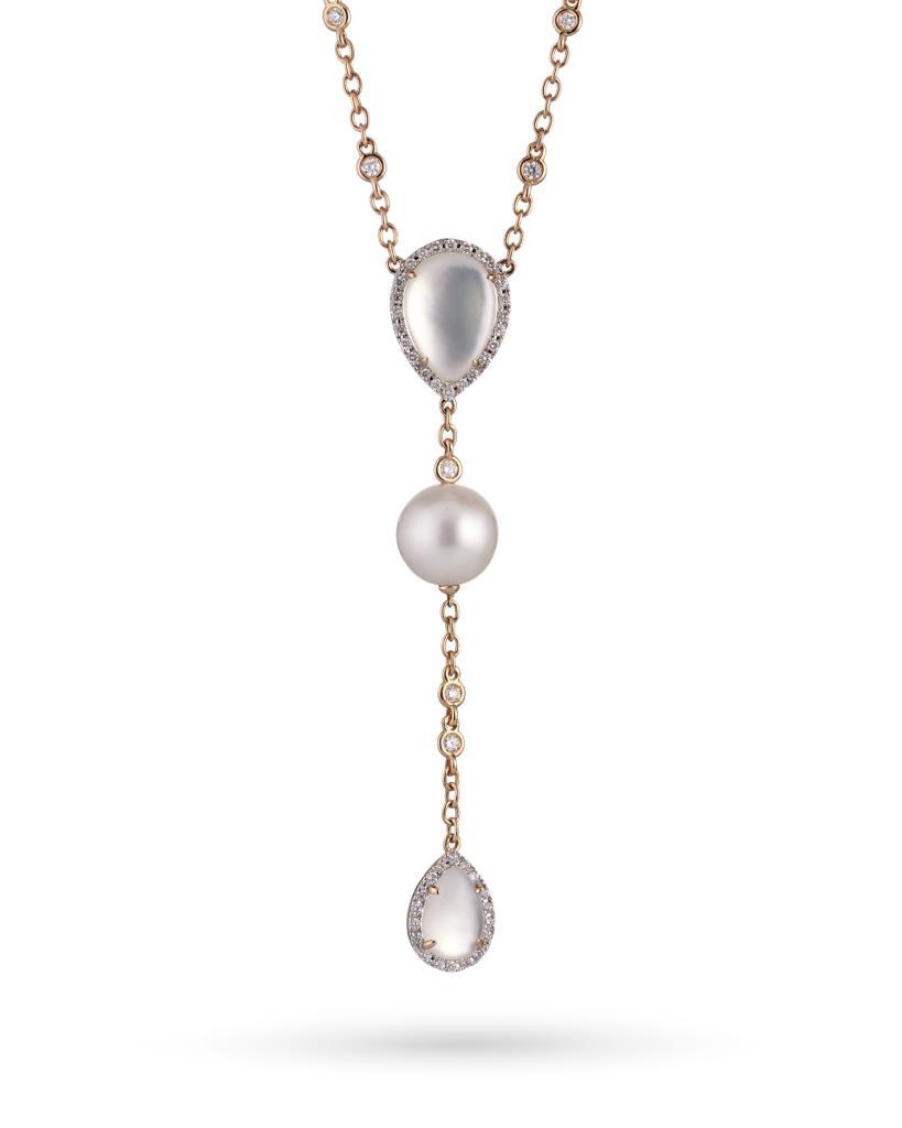 Girocollo in oro rosa con perla, madreperla e diamanti - COSCIA