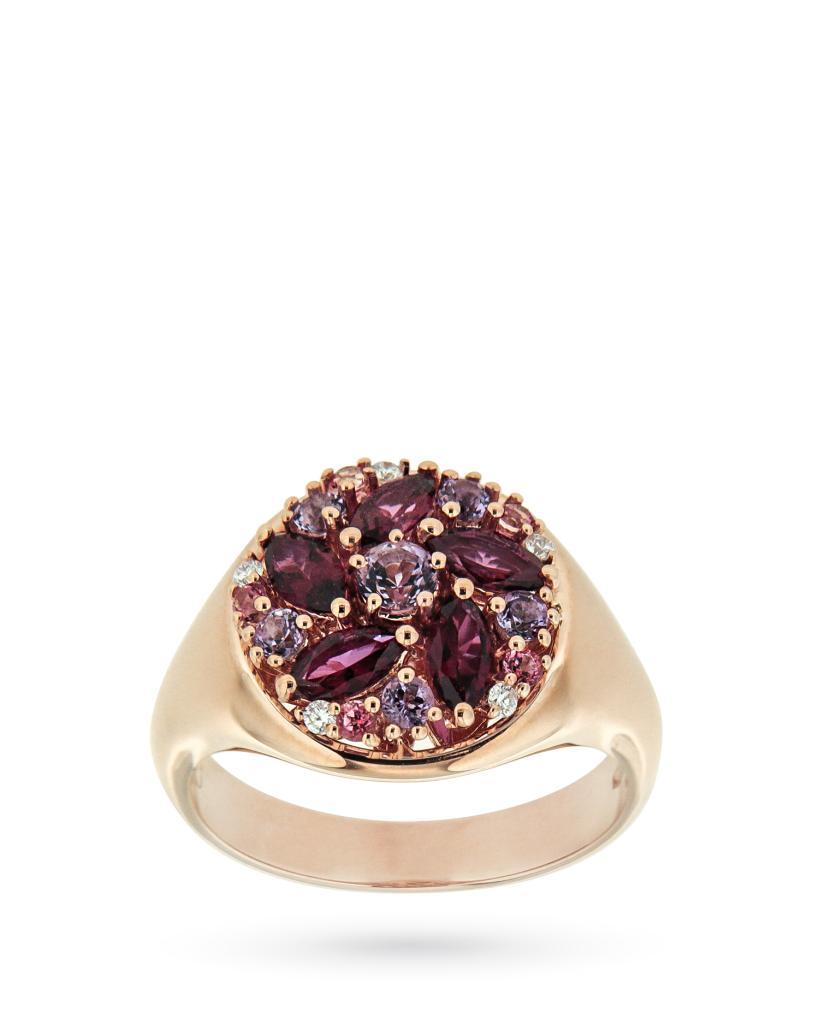 Anello in oro rosa con fiore di topazi, ametiste e diamanti - ORO TREND
