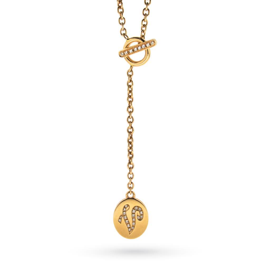 Collana rolo in oro rosa con ciondolo lettera V con brillanti - ORO TREND