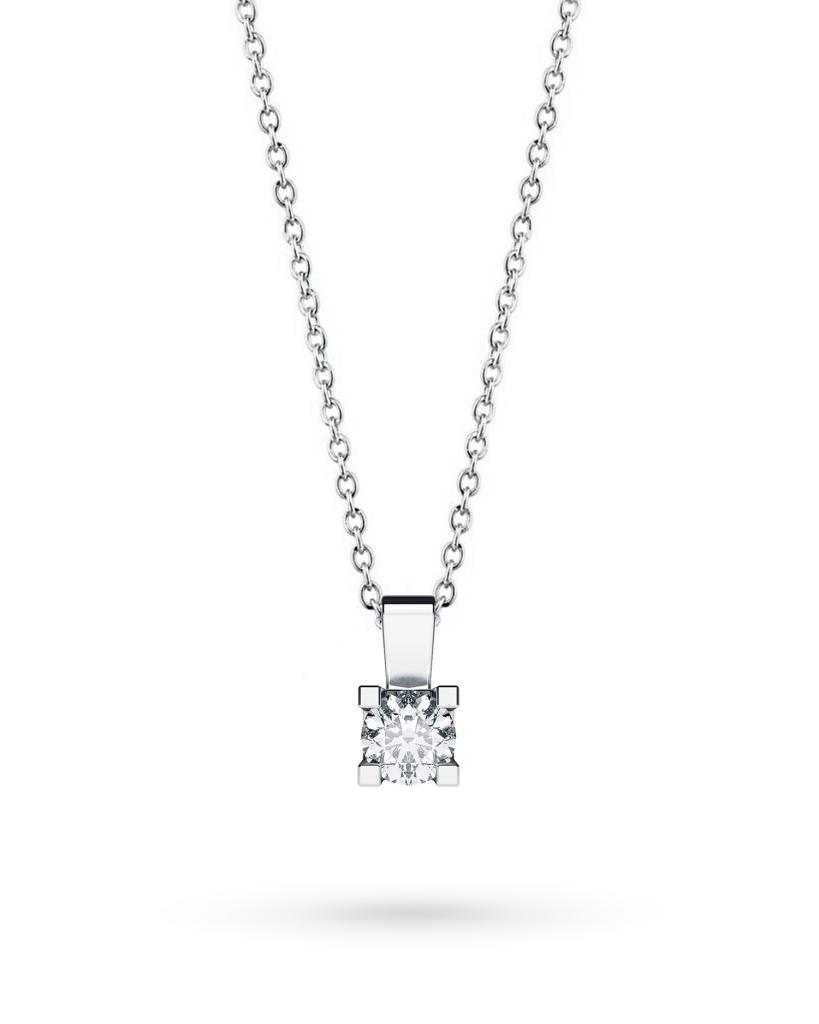 Girocollo punto luce in oro bianco con diamante D VS 0,22ct - CICALA