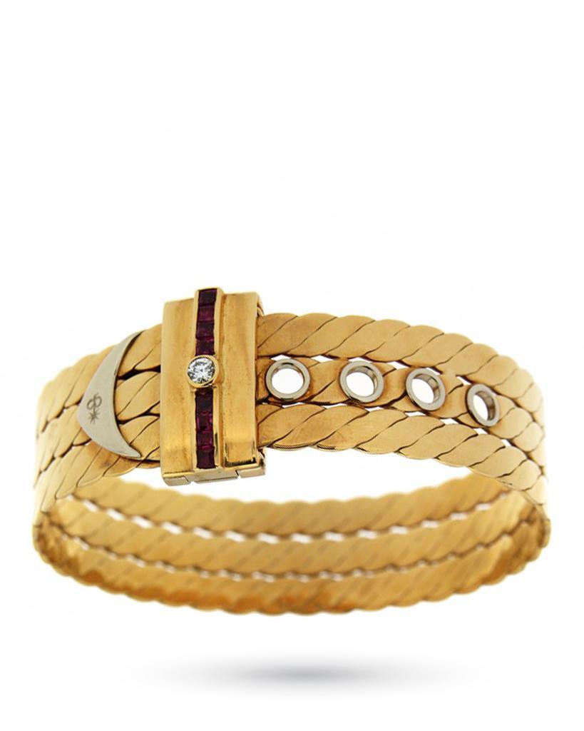 Bracciale rigido in oro giallo con fibbia di rubini e diamante - TORRINI