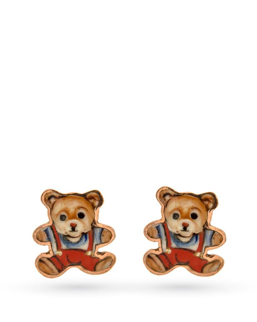 18kt yellow gold and copper Gabriella Rivalta bear earrings - GABRIELLA RIVALTA