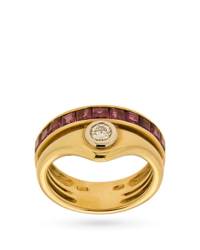 Anello a fascia in oro con diamante e linea di rubini - UNBRANDED