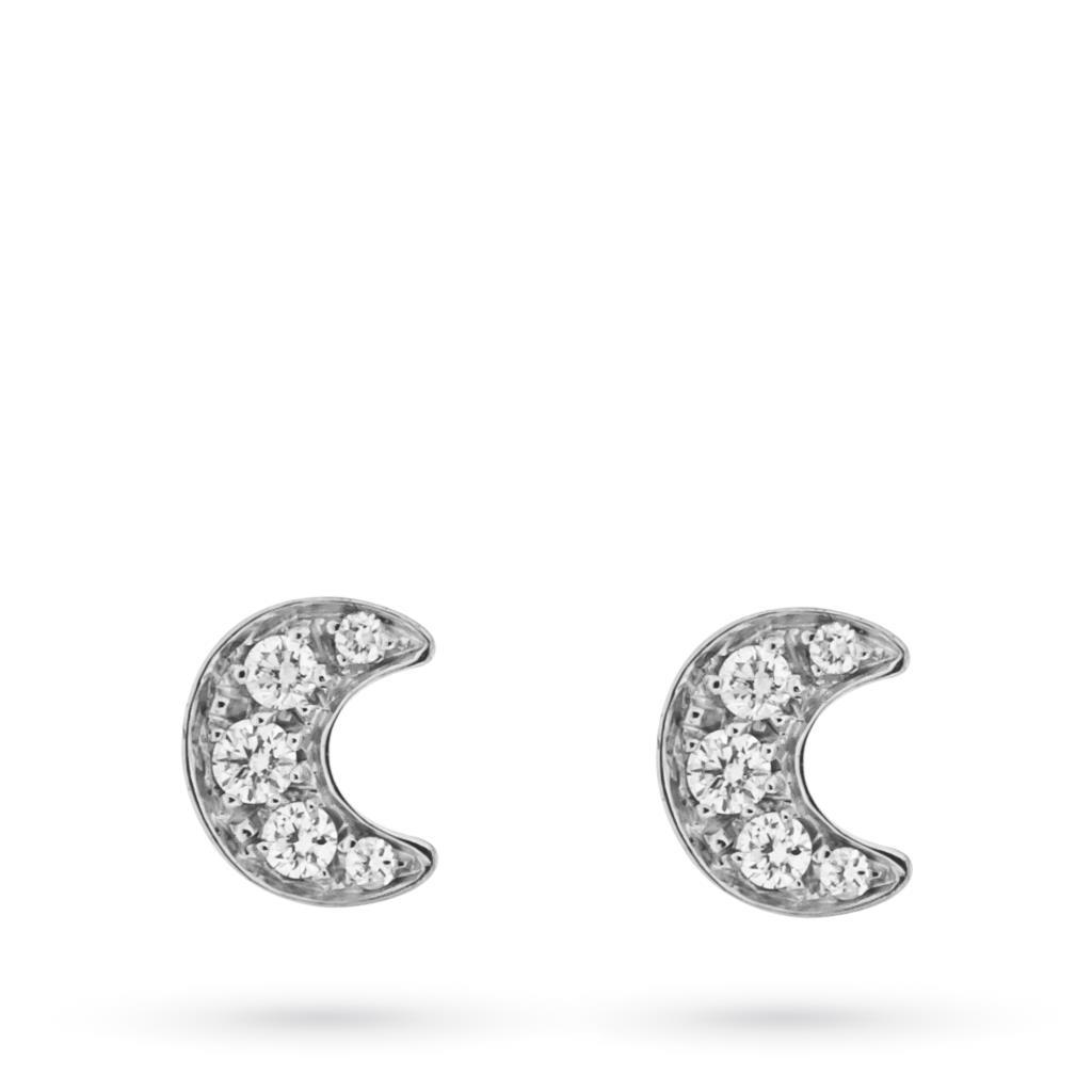 Orecchini in oro bianco con luna e diamanti - MIRCO VISCONTI