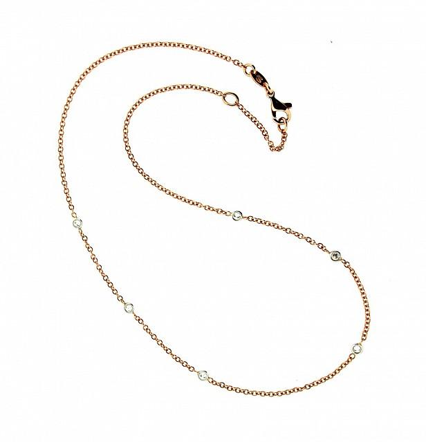 Collana girocollo in oro rosa 18kt e diamanti - ORO TREND