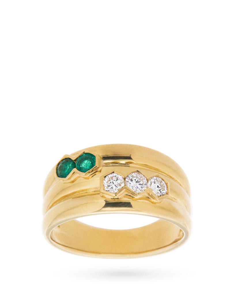Anello a fascia in oro con 3 diamanti e 2 smeraldi - UNBRANDED