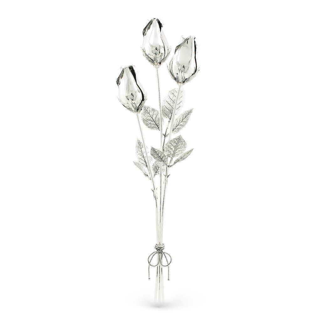 Mazzolino di rose soprammobile in argento senza smalto 48cm - GI.RO'ART
