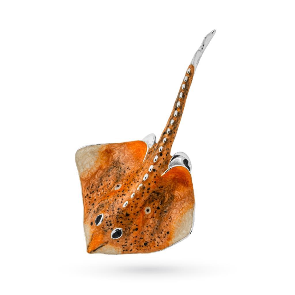 Razza grande arancione soprammobile in argento e smalto - SATURNO