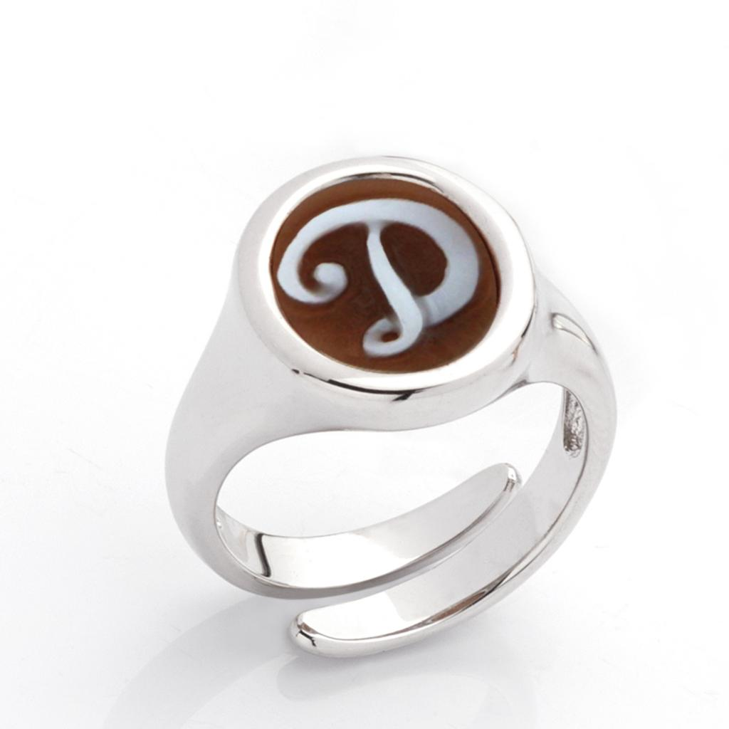 D letter ring in 925 silver with italics engraved cameo - CAMEO ITALIANO
