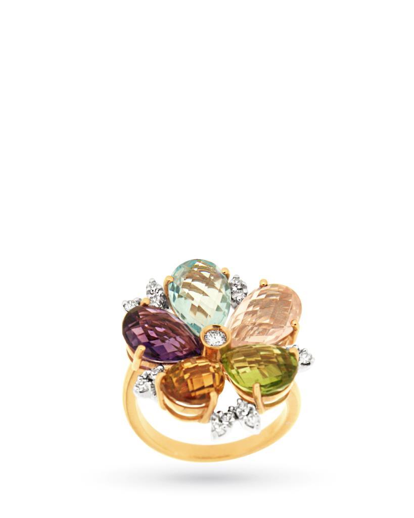 Anello con fiore di gemme e diamanti - CICALA