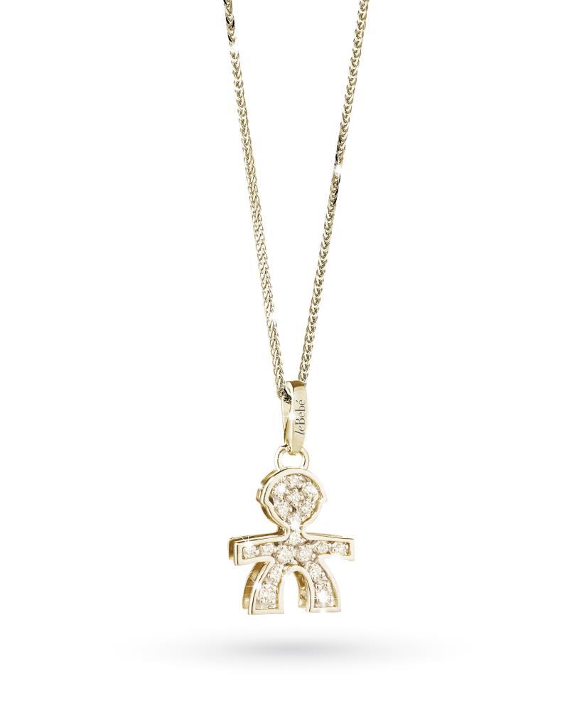 Ciondolo leBebe LBB021 bimbo in oro giallo con diamanti - LE BEBE