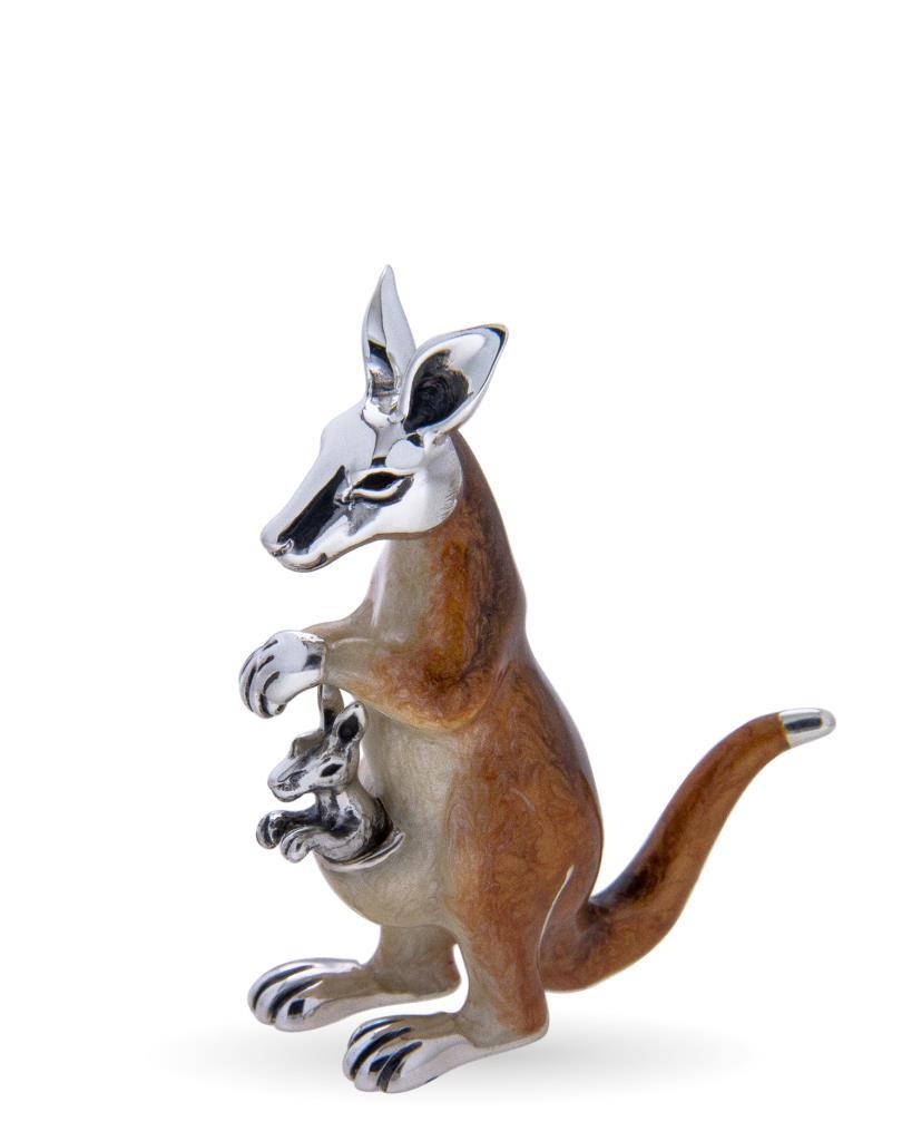 Canguro medio con cucciolo soprammobile argento e smalto - SATURNO