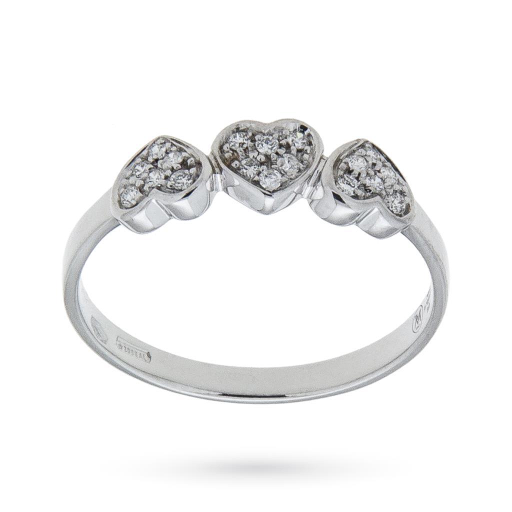 Anello in oro bianco con cuori di diamanti 0,09ct G VS - MIRCO VISCONTI
