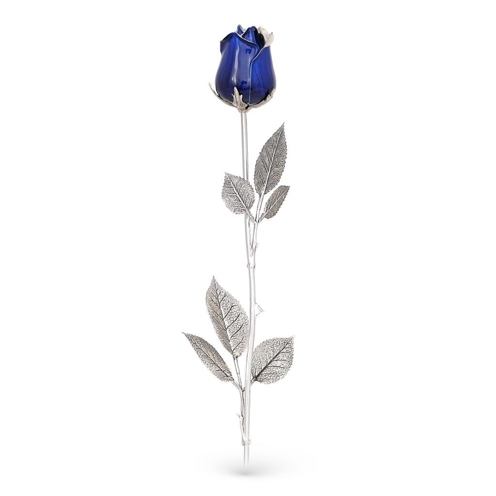 Rosa blu soprammobile in argento e smalto 48cm - GI.RO'ART