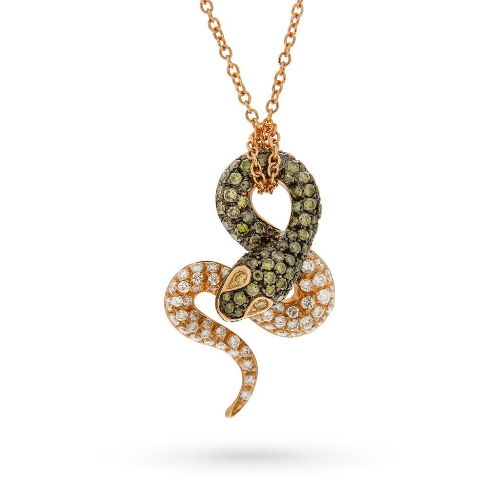 Girocollo serpente oro rosa diamanti verdi e bianchi - ORO TREND