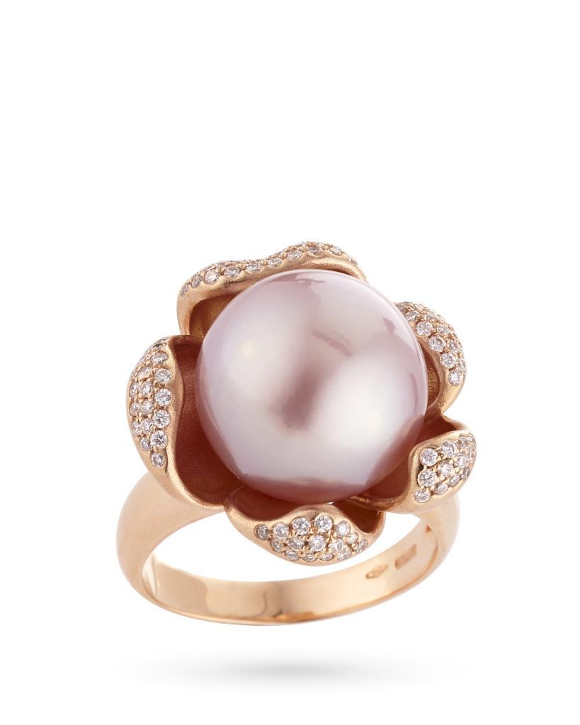 Anello con perla rosa in oro con diamanti - COSCIA