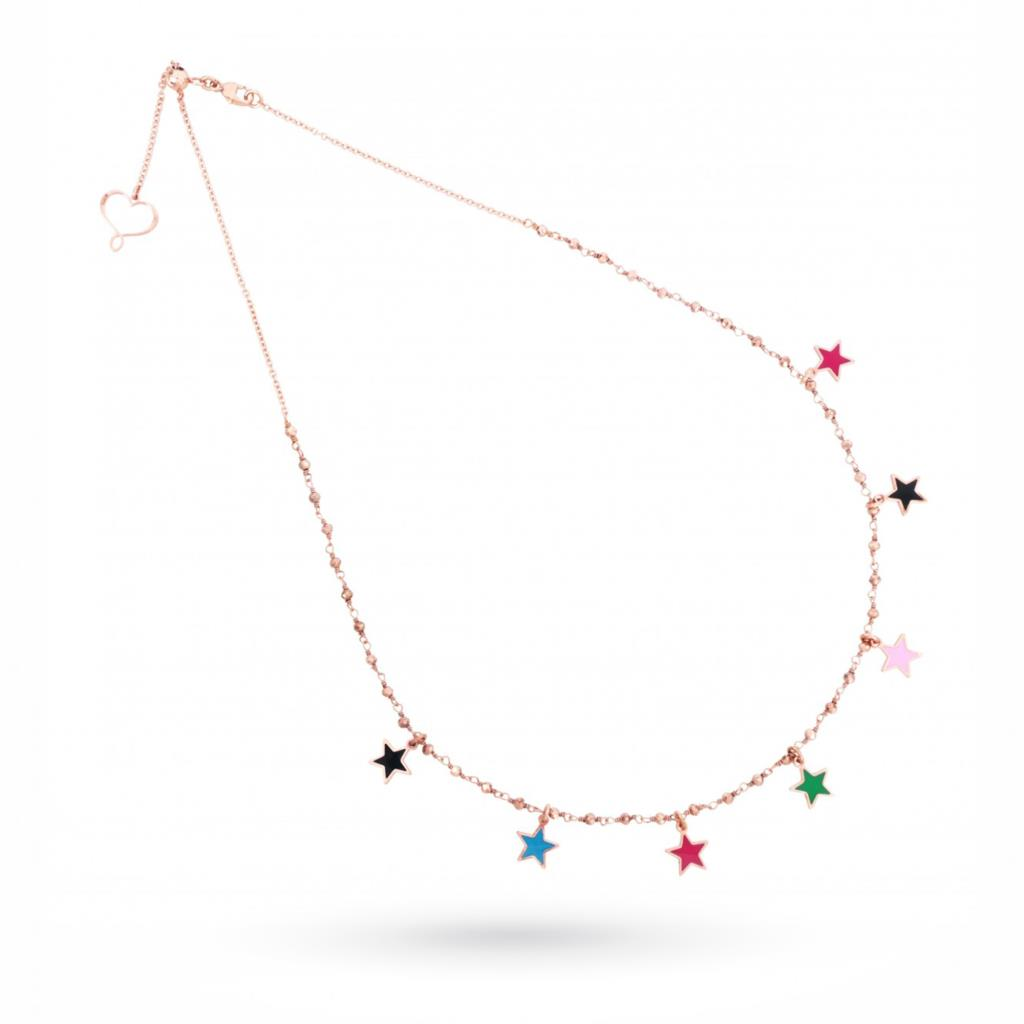 Necklace with multicolor stars in 925 silver plated rose gold - MAMAN ET SOPHIE