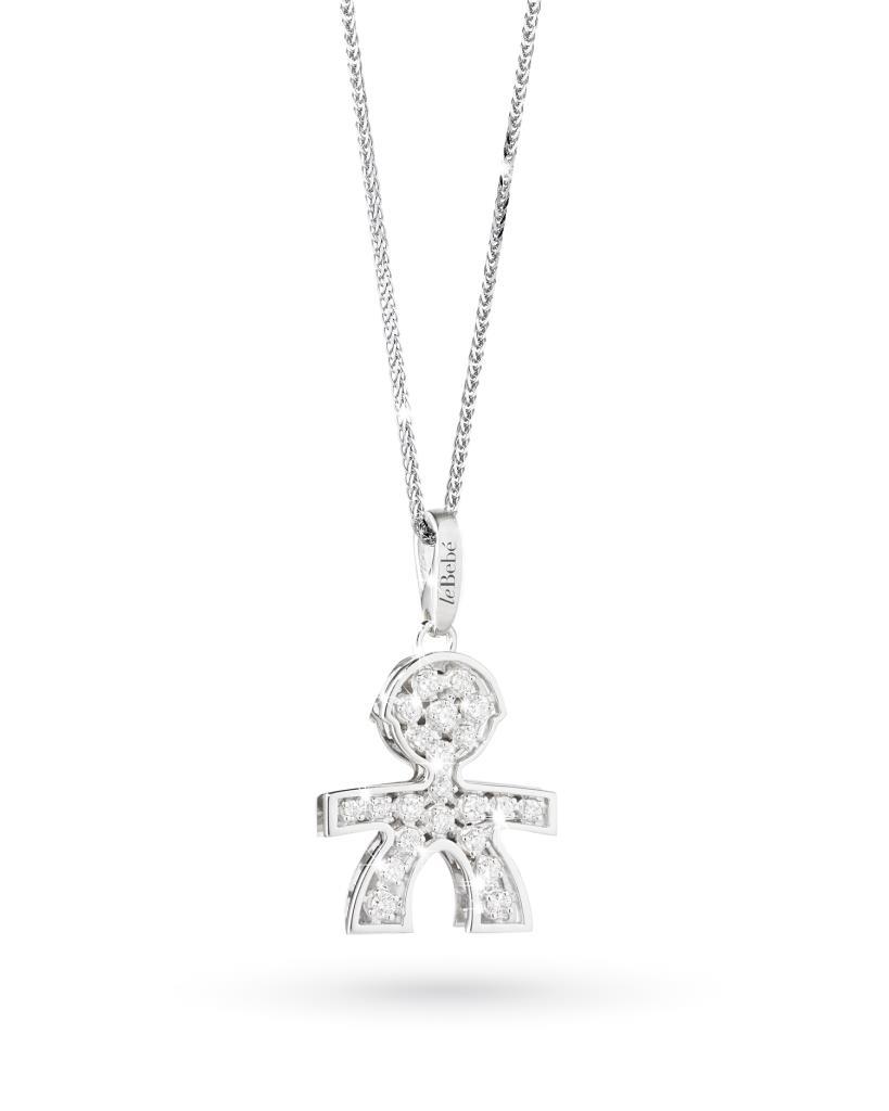 Ciondolo leBebe LBB025 bimbo in oro con diamanti - LE BEBE
