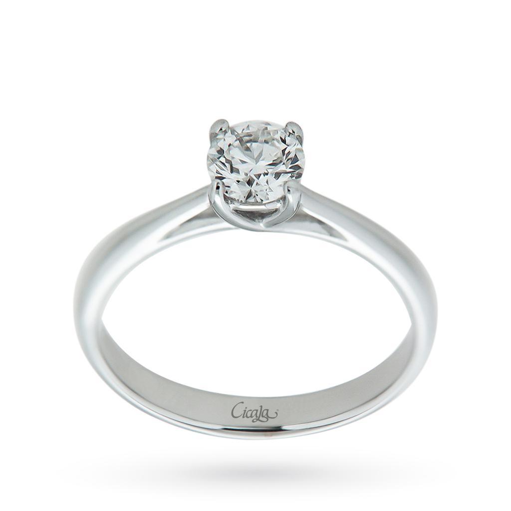 Anello solitario con diamante ct 0,51 G IF - CICALA
