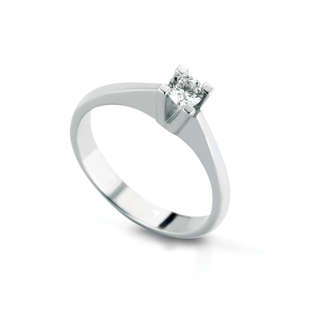Solitaire square ring gold with diamond 0,20ct - LELUNE DIAMONDS