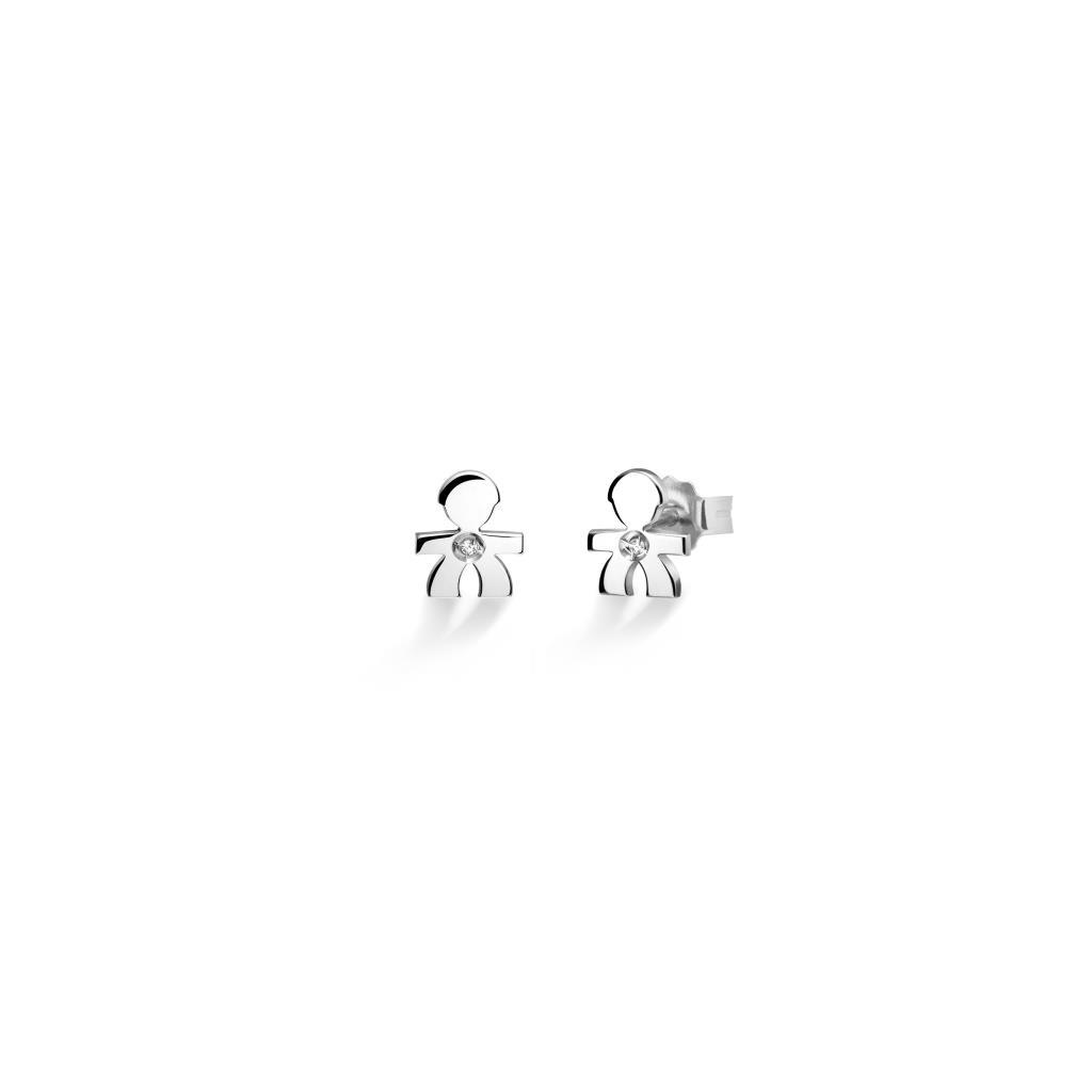 Orecchino singolo LeBebe LBB309 Briciole bimbo in oro bianco con diamante - LE BEBE