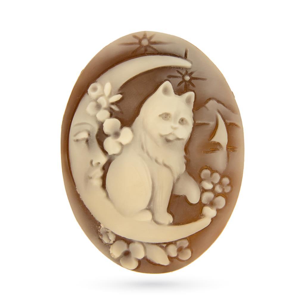 Artistic craftmade cameo of cat and moon - CAMEO ITALIANO