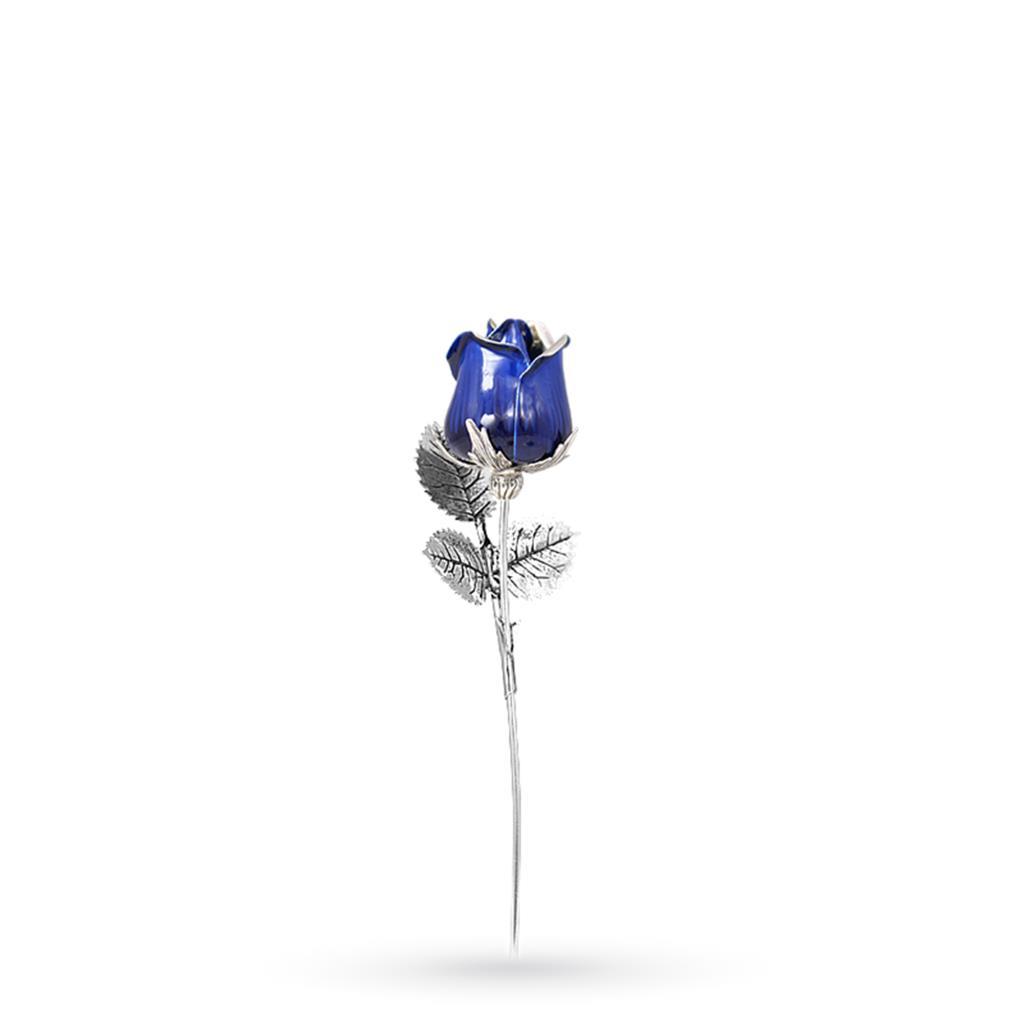 Blu rose ornament in sterling silver and enamel 13cm - GI.RO'ART