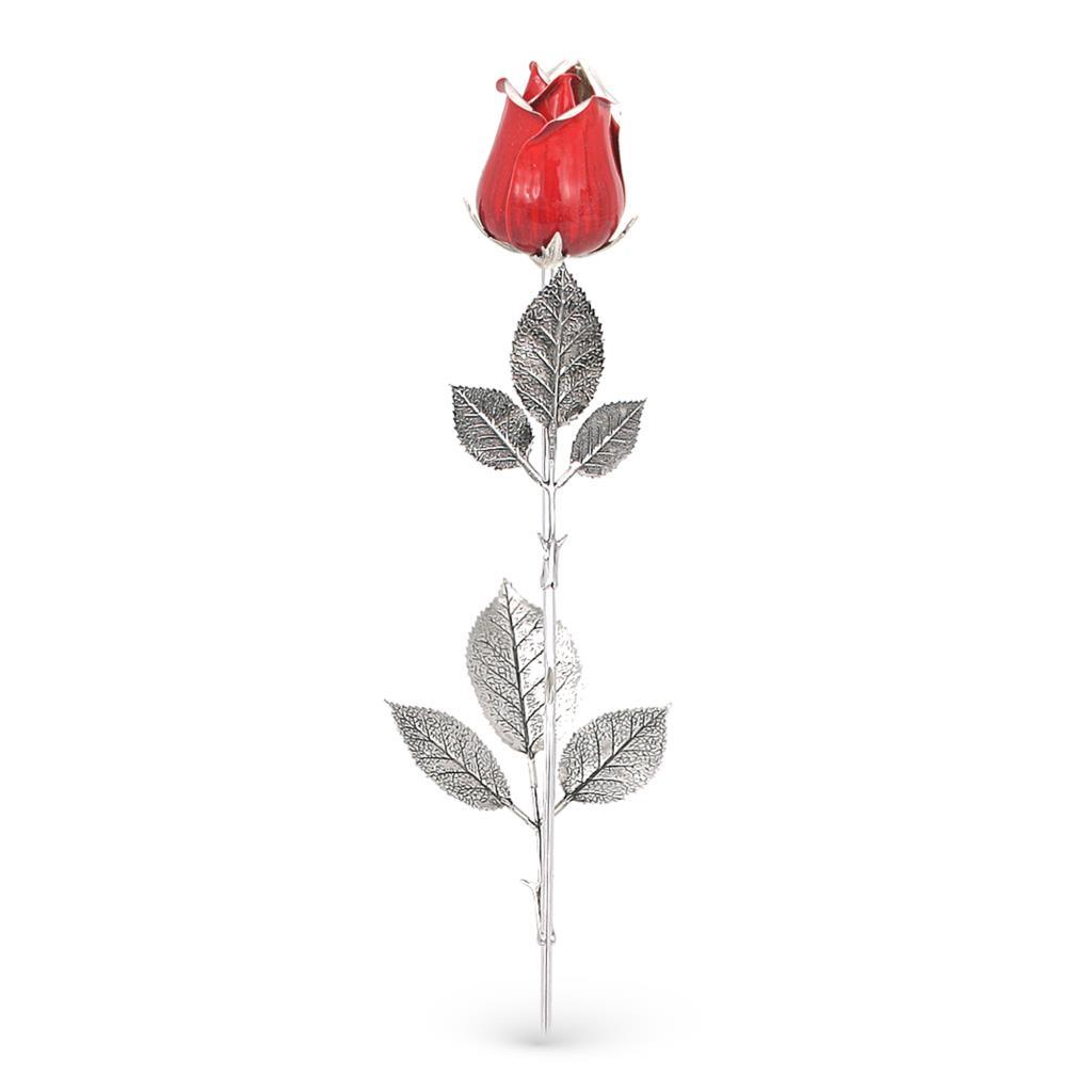 Rosa rossa soprammobile in argento e smalto 48cm - GI.RO'ART