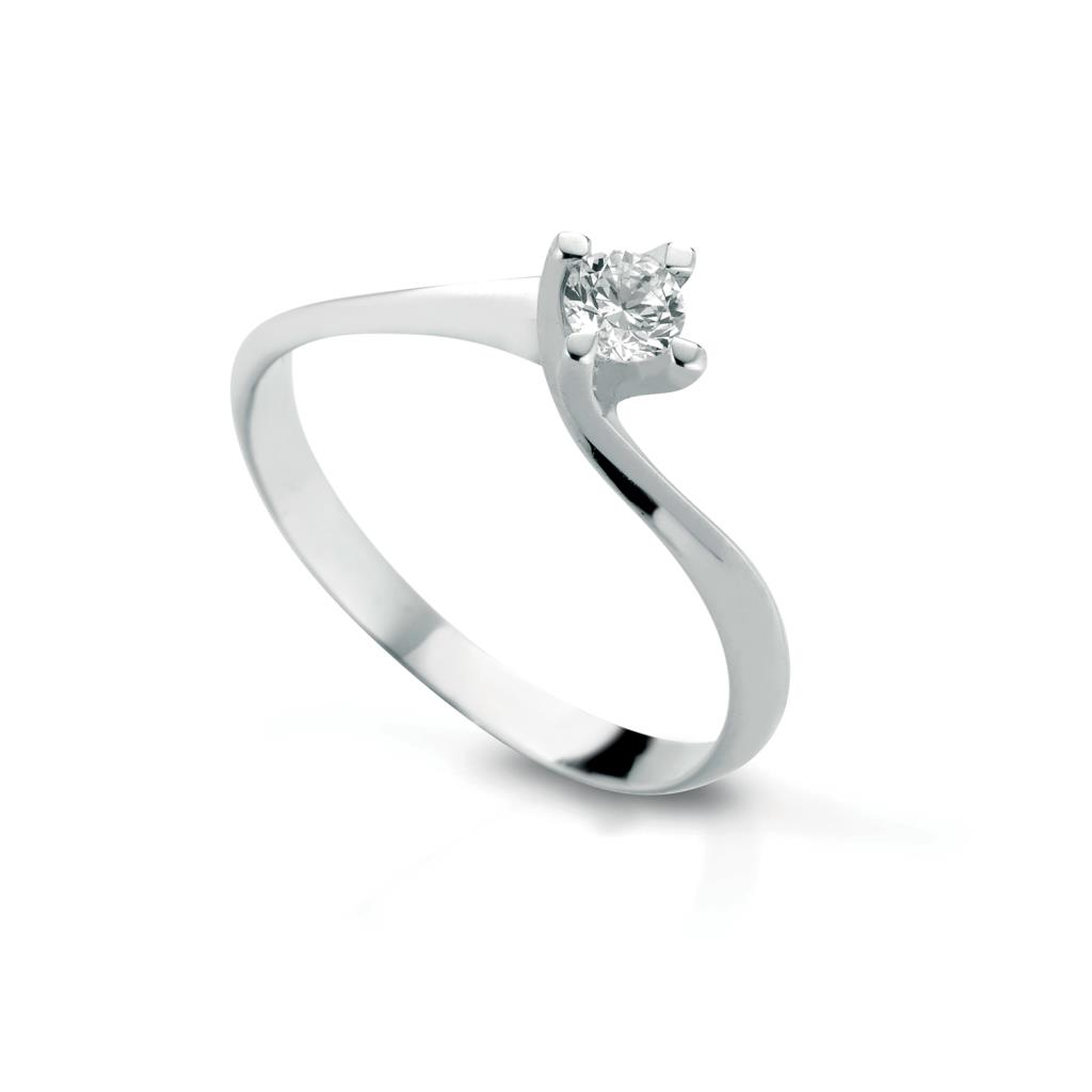 Valentino solitaire ring gold with diamond 0,07ct - LELUNE DIAMONDS