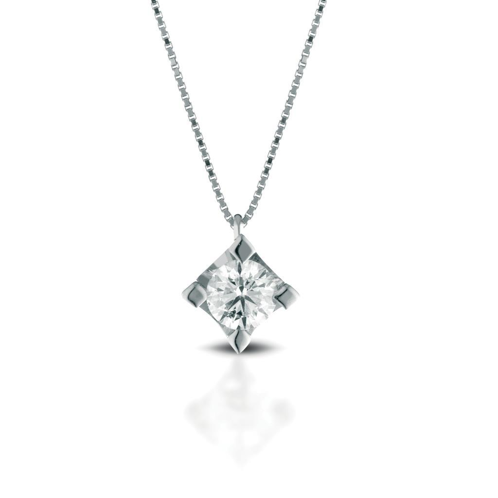 Solitaire necklace gold with diamond 0,18ct - LELUNE DIAMONDS